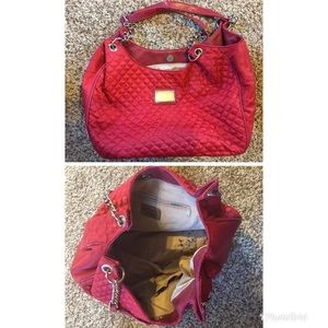 Nine West Red Quilted and Leather Handbag.